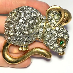 vintage huge rhinestone pave mouse brooch pin
